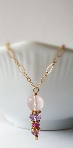 Pastel Pebbles - Faceted Pink Quartz, Amethyst, Watermelon Tourmaline 14k Gold Fill Necklace by Belle Bijou Atelier