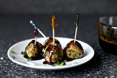 Scallion meatballs with soy-ginger glaze. Yum.