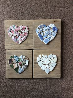 Four coloured sea pottery hearts on sanded driftwood. Sea Glass Crafts, Sea Crafts, Sea Glass Art, Mosaic Diy, Mosaic Crafts, Seashell Art, Seashell Crafts, Unusual Hobbies, Seashell Projects