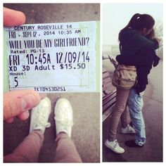 Treat that special someone to a night at the theater: 18 Sickeningly Romantic Ways To Ask Out Your Crush Dance Proposal, Homecoming Proposal, Romantic Proposal, Most Romantic, Homecoming Ideas, Proposal Ideas, Romantic Ideas, Will You Be My Girlfriend, Presents For Girlfriend
