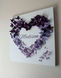 "Check out 20"" x 20"" Personalised Purple Ombre Butterfly Wall Artwork - New child - Child - Nursery - Child Bathe - Present - Made to Order"