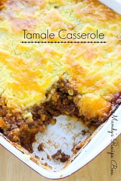 The topping of this Tamale Casserole is a polenta style rather than corn bread. You can use corn bread if you prefer. Southerners will love this recipe! Tamale Casserole, Tamale Pie, Casserole Recipes, Meat Recipes, Mexican Food Recipes, Cooking Recipes, Potato Recipes, Hamburger Recipes, Chicken Recipes