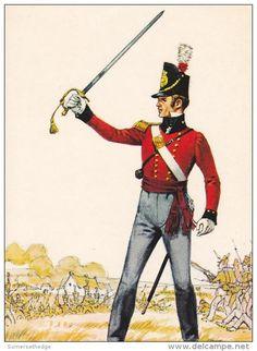 Lieutenant Battqlion Company The 1st Or Royal Regiment Of Foot 1815 Uniform Postcard (U14663)