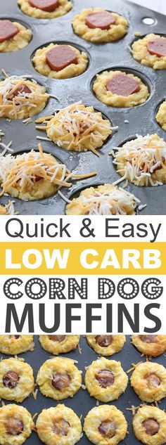 Easy Low Carb Corn Dog Muffins | These quick and easy low carb keto muffins are perfect for breakfast, snacks and on the go! They're all high in protein, and most of them are made with almond flour or coconut flour-- healthy, sugar free, gluten free and delicious! Listotic.com