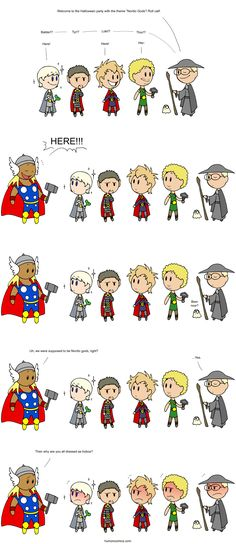 One of my fave Scandinavia and the World strips. From left to right, Iceland, Finland, Denmark, Norway and Sweden. The big oaf interrupting the festivities is the U.S. XD