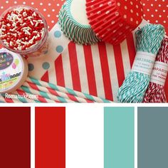 colour combo - red and turquoise