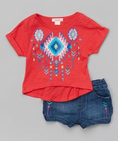Look at this Unik Coral Geometric Tee & Denim Shorts - Toddler & Girls on #zulily today!
