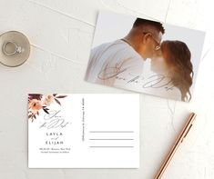 Gorgeous fall save the date postcard with leafy florals. Modern Save The Dates, Floral Save The Dates, Save The Date Postcards, Save The Date Cards, Modern Script Font, Watercolor Flowers, Engagement Photos, Florals, Wedding Invitations