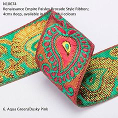 Neotrims Wide Sari Decorative Shimmer Ribbon Paisley Brocade 6cms Deep. Traditional 9 meters Reel for Sari Border. Also for Salwar Kameez, Crafts & Home Interior Décor. 4 cms Deep Border, Vibrant Bright with Metallic Gold Two Tone Base,8 Stunning colours! Buy by the 3 meter or 1 reel of 9 meters Sari length. Bargain Price for 1 Reel! Neotrims Indian Ribbons & Salwar Borders over 25mm http://www.amazon.co.uk/dp/B00NW87BG8/ref=cm_sw_r_pi_dp_DSdmvb17T64Q5
