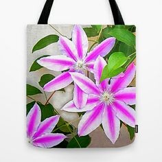 FREE Shipping + $ 5.00 OFF NOW! Clematis Trio Tote Bag by Shelia Kempf ArtWorks - $22.00