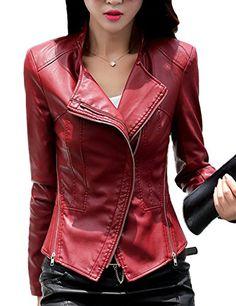 da51c415a55 SALE PRICE -  39.01 - Tanming Women s Short Slim Slant Zip Faux Leather  Moto Jacket Multiple