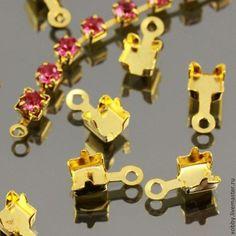 Концевики-цапы для цепочек из страз 4х4 мм с петелькой на конце для крепления колечка или замка комплектами по 10 штук(Я.М.-15р 10шт)