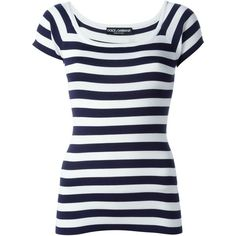 Dolce & Gabbana striped knit T-shirt (84810 RSD) ❤ liked on Polyvore featuring tops, t-shirts, white, ribbed t shirt, striped tee, white t shirt, white scoop neck tee and short sleeve t shirt