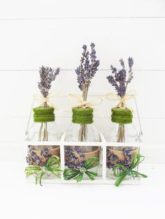 Monk's House Lavender in Mini Milk Bottles Mini Milk Bottles, Decorated Jars, Handmade Decorations, Ceramic Vase, Dried Flowers, Home Gifts, Vases, Flower Arrangements, Lavender