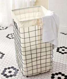 Wire Basket Hamper & Liner - from Pottery Barn but seems to be discontinued