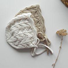 Baby Bonnet Cotton Yarn Hand Knit Baby Bonnet Vintage Style