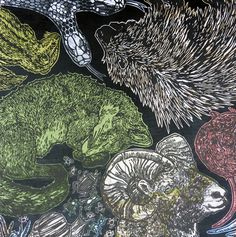 """""""From Land"""" Lino print on decorative paper mounted on wood. By Laura Fedynyszyn"""