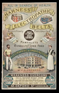 "victorianfanguide: "" An advertisement for Harness' Electropathic Belts which claimed to generate an electric current within the body to cure afflictions such as hysteria, nervousness, sleeplessness,. Posters Vintage, Vintage Labels, Vintage Ads, Vintage Prints, Vintage Newspaper, Retro Posters, Funny Vintage, Pseudo Science, Weak Men"