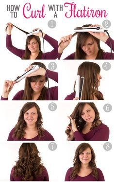 How to curl hair with a flatiron tutorial. I followed these directions this morning and it turned out *so* much better than usual!