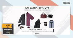 Products with limited availability for both Men & Women for an 20% Off at #Yoox and Get Extra 4% #Cashback from Getex #Singapore. Shop Now http://yoox.ly/1P2I6rw