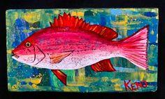 Red Snapper Fish Painting Maine Abstract Folk Art Outsider Coastwalker | eBay