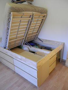 Selbst-Bau-Bettaus IKEA MALM Kommoden - super Idee für kleine Schlafzimmer!