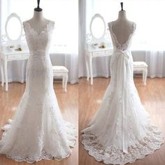 Popular Elegant V-Neck Long Mermaid White Lace Bridal Gown, Wedding Pa – LoverBridal