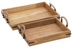 2 piece set rectangular wood trays with rope handles.