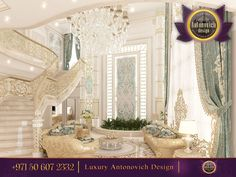 Just by looking at this gorgeous living room space we can see how much thought was used to combine all this decorative pillows, stunning staircase and unique pieces of furniture! We Make You Happier At Home! Call us +971 50 607 2332  #antonovichdesign, #dubailuxury, #interiordesign