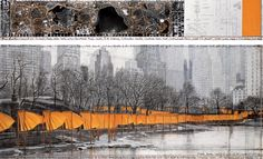 """Christo  The Gates (Project for Central Park, New York City)  Drawing 2003 in two parts  15 x 96"""" and 42 x 96"""" (38 x 244 cm and 106.6 x 244 cm)  Pencil, charcoal, pastel, wax crayon, fabric sample, aerial photograph and hand-drawn technical data  Whitney Museum of American Art, New York City, USA (Gift of Melva Bucksbaum and Raymond Learsy)  Photo: André Grossmann  © 2003 Christo"""