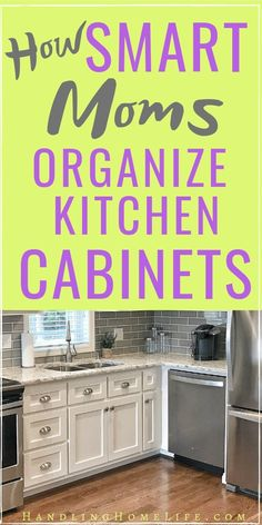 Organize a small kitchen with pull out drawers in cabinets. Organizing your kitchen cabinets and declutter kitchen storage.