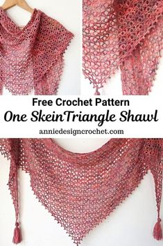 Little Fictions – Free Crochet Pattern for a One Skein Shawl A one skein crochet shawl, with a beaut One Skein Crochet, Crochet Shawl Free, Crochet Shawls And Wraps, Basic Crochet Stitches, Crochet Basics, Crochet Scarves, Crochet Patterns, Free Crochet Shawl Patterns, Crochet Beanie