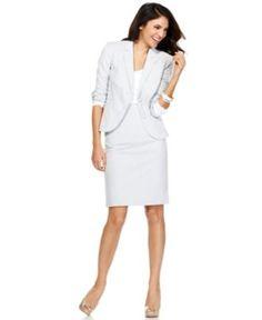 Calvin Klein Seersucker Stripe Suit Separates Collection - Womens Suits & Suit Separates - Macy's