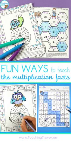 Teaching multiplication to your grade students should be fun. Use anchor charts and flip books to introduce each multiplication strategy and then hands-on games, activities and printables to help them remember their times tables. Maths 3e, Multiplication Activities, Multiplication Tables, Math Activities, Numeracy, Math Fractions, Math For Kids, Fun Math, Math Intervention