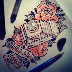 #tattoo #sketch #flash #tattooflash #rose #camera #photo