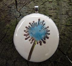 Ceramic dandelion pendant