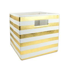 """DII Foldable Fabric Storage Container for Nurseries, Offices, Closets, Home Décor, Cube Organizer & Everyday Use, 11 x 11 x 11"""", Gold Stripe"""