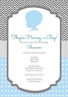 Boy Silhouette Invitation $15 from shysocialites.com