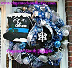 Deco Mesh Ice/Snow themed wreath   www.charmedsouth.etsy.com theme wreath, mesh icesnow, wreath wwwcharmedsouthetsycom, icesnow theme