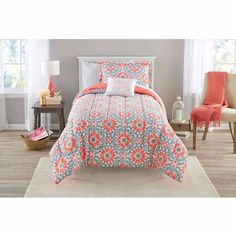 Coral Twin Bedding Girls Comforter Set Medallion Teen Floral Chic Bed in a Bag #CoralTwinBedding #ModernModernBeddingContemporaryChic