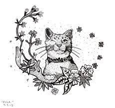 Calico Cat Drawing Illustration Art Original black and