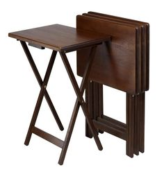 Winsome Wood 94419 Set of 4 Single TV tables, Rect, Walnut (94120)