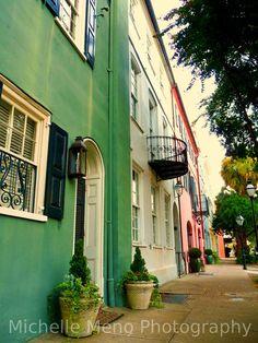 Rainbow Row Charleston South Carolina teal pink by emeraldeyz26, $12.00