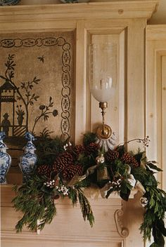 Garlands for the fireplace mantle that only wrap around the two outer edges.  Great if you have a display of Santas, Christmas trees, or carolers that take center stage.