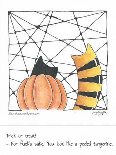 Catversations #13 Ink & colored pencil, 4″x4″