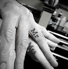 Superb Mr. and Mrs. Couple Tattoo for Fingers