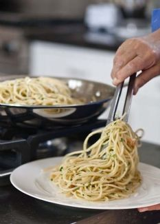 Barefoot Contessa - Spaghetti Aglio E Olio. I would add the zest of 1 lemon to bring the flavors out.