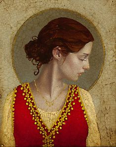 "St. Apollonia.   by James C. Christensen  When the heathen population of Alexandria rioted against the Christians in 249, Apollonia was beaten and her teeth extracted with tongs. Being threatened with fire, Apollonia ""being kindled within by a greater fire of the Holy Spirit"" walked into the fire of her own accord. She is the patron saint of dentists. (Note the necklace of teeth identifying Apollonia)."