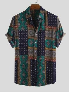 Mens Vintage Shirts, Vintage Shorts, Vintage Men, Fashion Vintage, Casual Tops, Casual Shirts, Men Casual, Casual Wear, Camisa Floral