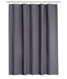 Dark gray. Shower curtain in water-repellent polyester with metal grommets at top. Curtain rings sold separately.